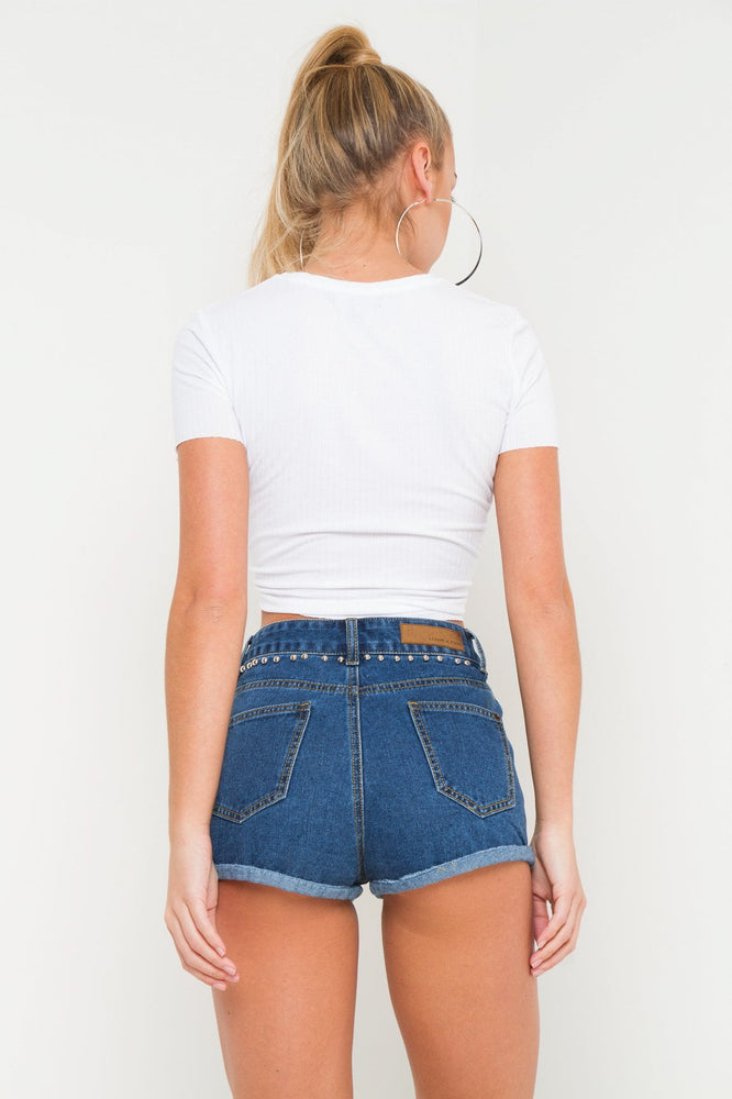 TEXAS HIGH RISE BLUE DENIM SHORTS WITH ROSE APPLIQUE AND STUDS - Liquor N Poker  LIQUOR N POKER