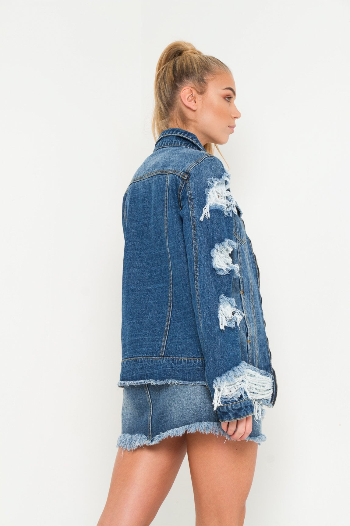 Sienna Girlfriend denim jacket with distressing & lace