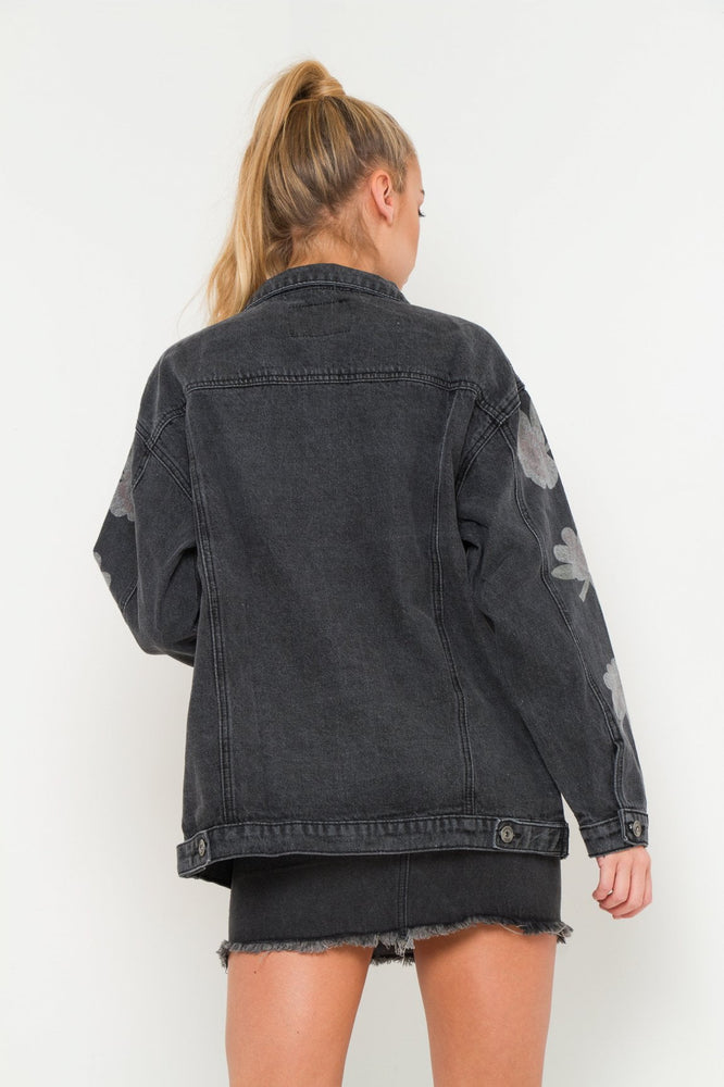 Boyfriend washed black denim jacket with lilly print - Liquor N Poker  LIQUOR N POKER