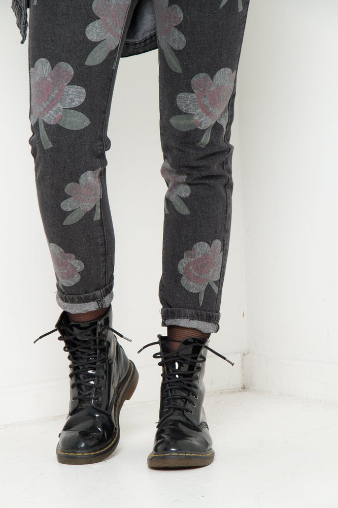 LAX High rise mom jean with lilly print in washed black - Liquor N Poker  LIQUOR N POKER