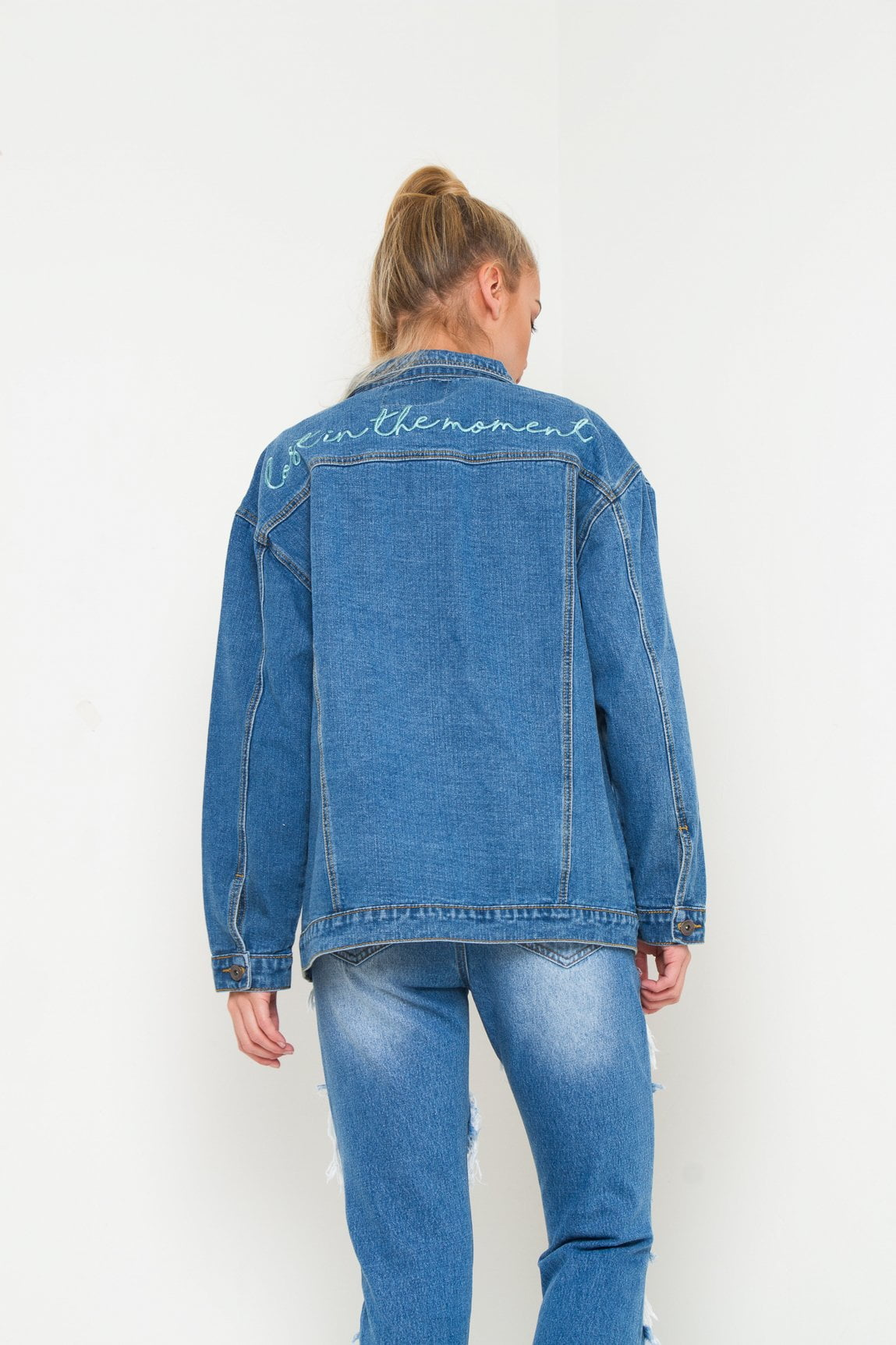 BOYFIEND DENIM JACKET WITH EMBROIDERY LOST IN MOMENT JACKET