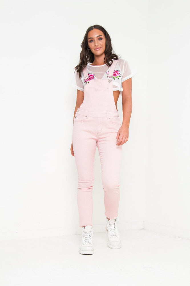 LIZZY STRETCH DENIM DUNGAREE IN CANDY FLOSS PINK