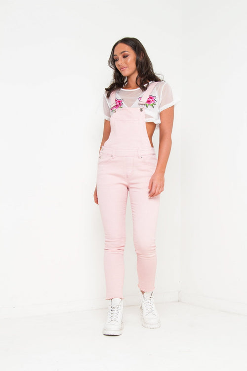 LIZZY STRETCH DENIM DUNGAREE IN CANDY FLOSS PINK - Liquor N Poker  Liquor N Poker