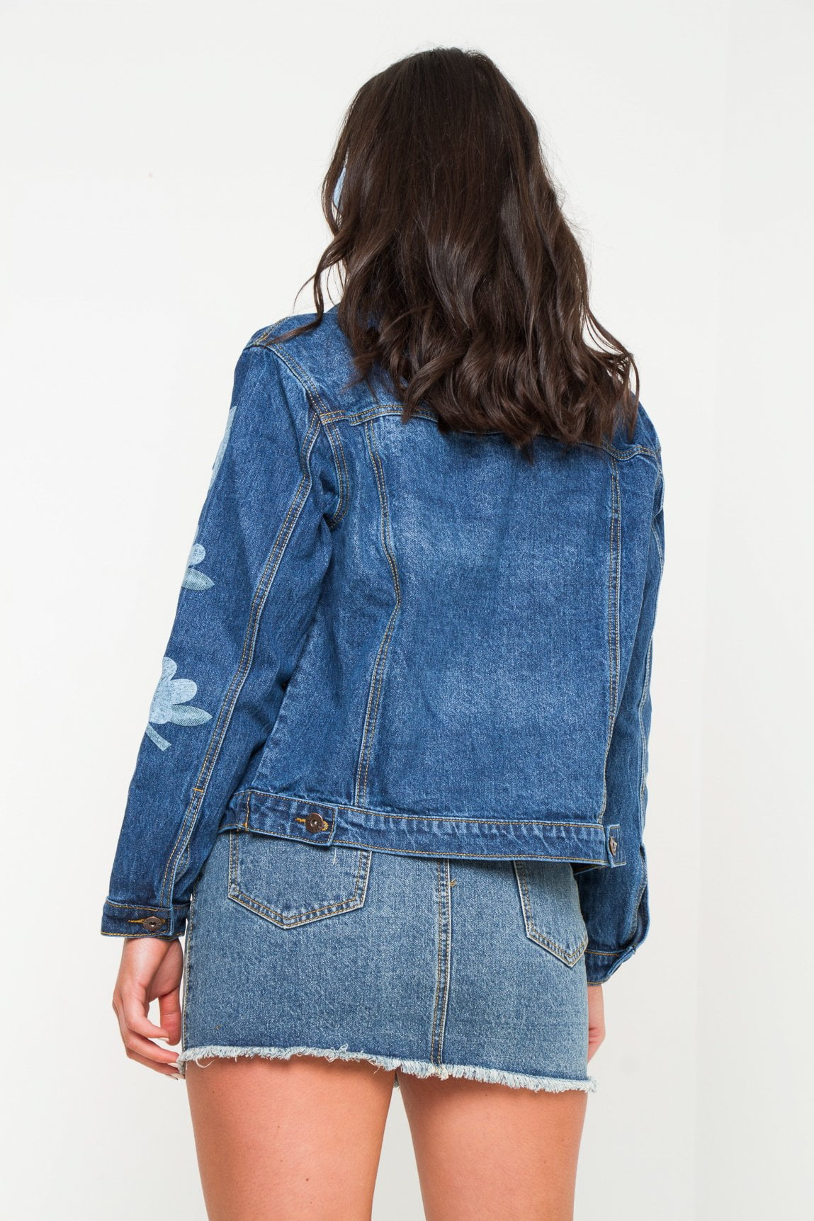 Boyfriend dark blue denim jacket with lilly print