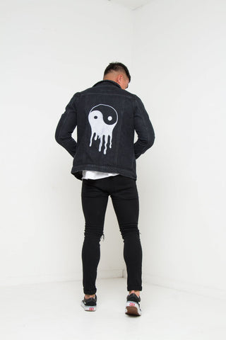 Norton Black Yin And Yang Embroidered Denim Jacket