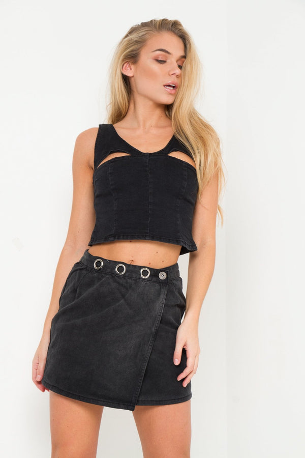 Albany Denim Skirt With Wrap Detail and Eyelet - Liquor N Poker  Liquor N Poker