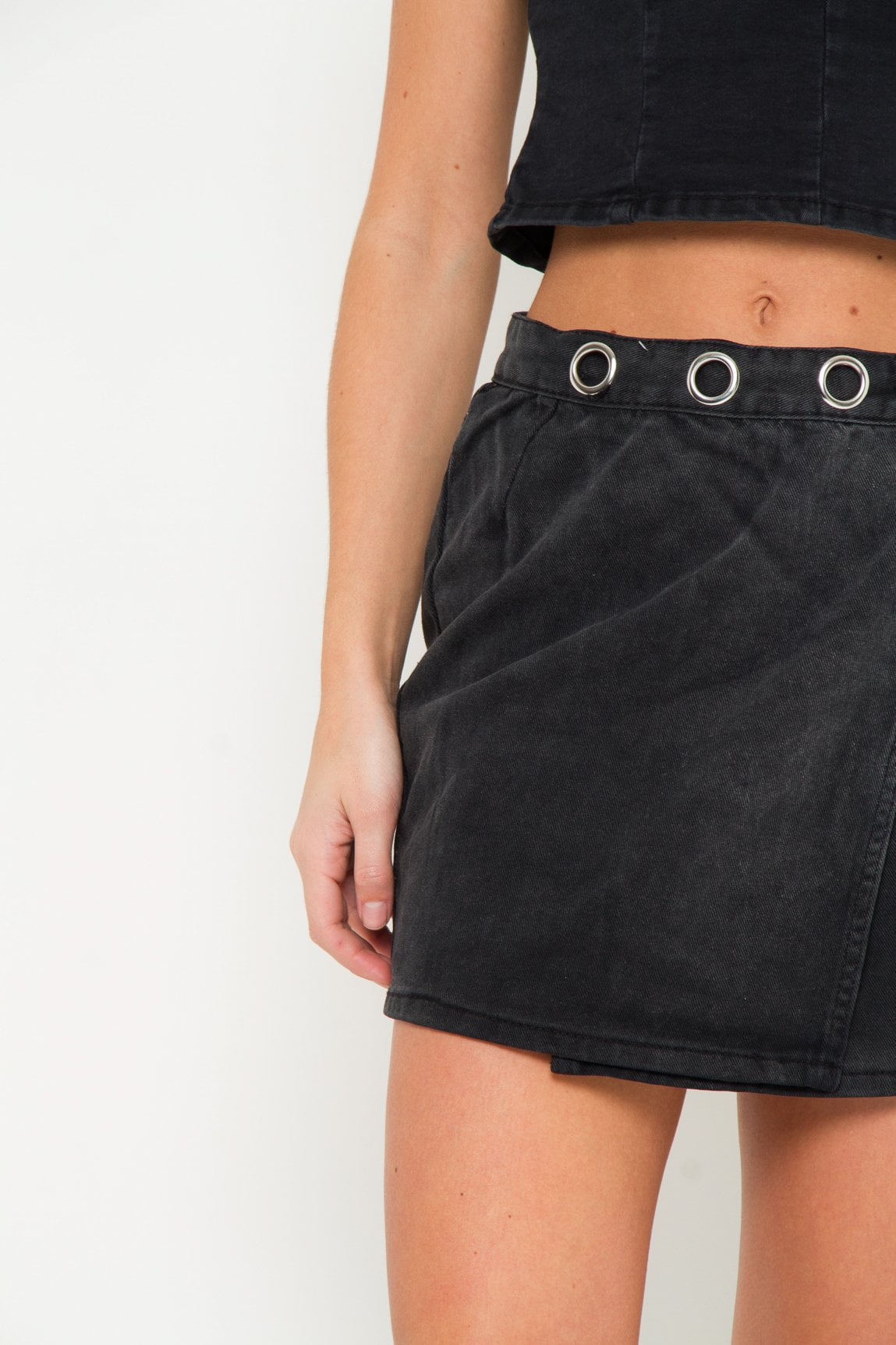 Albany Denim Skirt With Wrap Detail and Eyelet