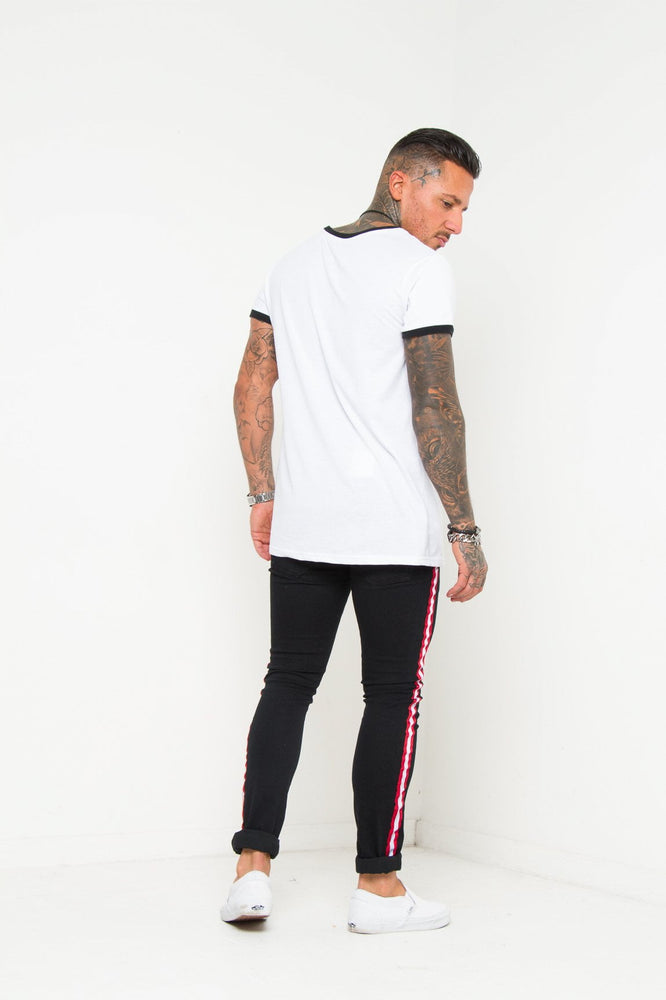 LOGAN SKINNY JEAN IN WASHED BLACK WITH SPORTS STRIPE TRIM - Liquor N Poker  LIQUOR N POKER