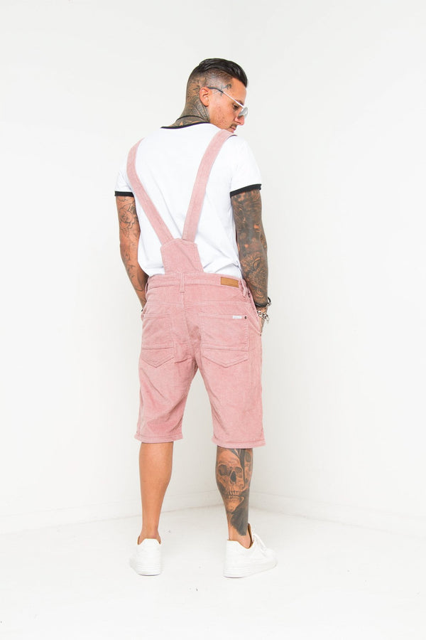 Nevada Pink Corduroy Dungaree Shorts