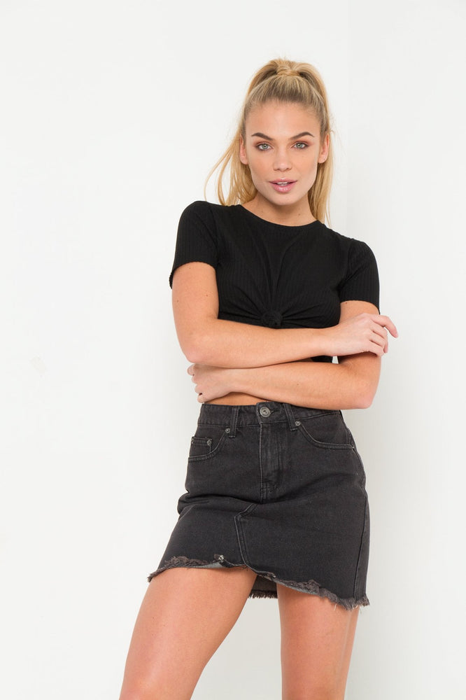 Dakota Black Washed Denim Mini Skirt - Liquor N Poker  LIQUOR N POKER