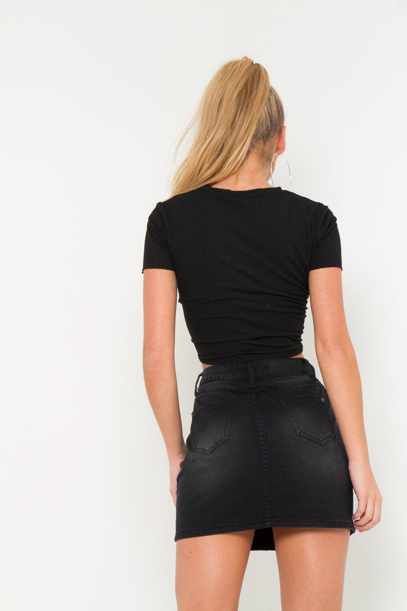 Breezy Distressed Black Denim Mini Skirt - Liquor N Poker  Liquor N Poker