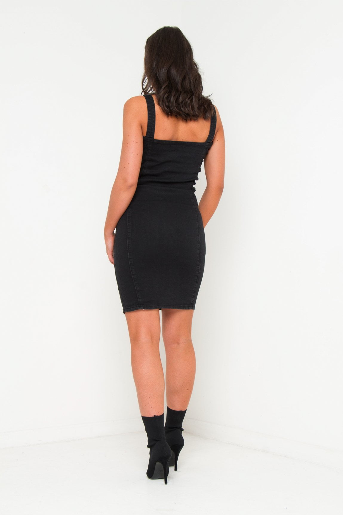 Albany Denim Midi Dress with Lace Up Detail - Liquor N Poker  Liquor N Poker