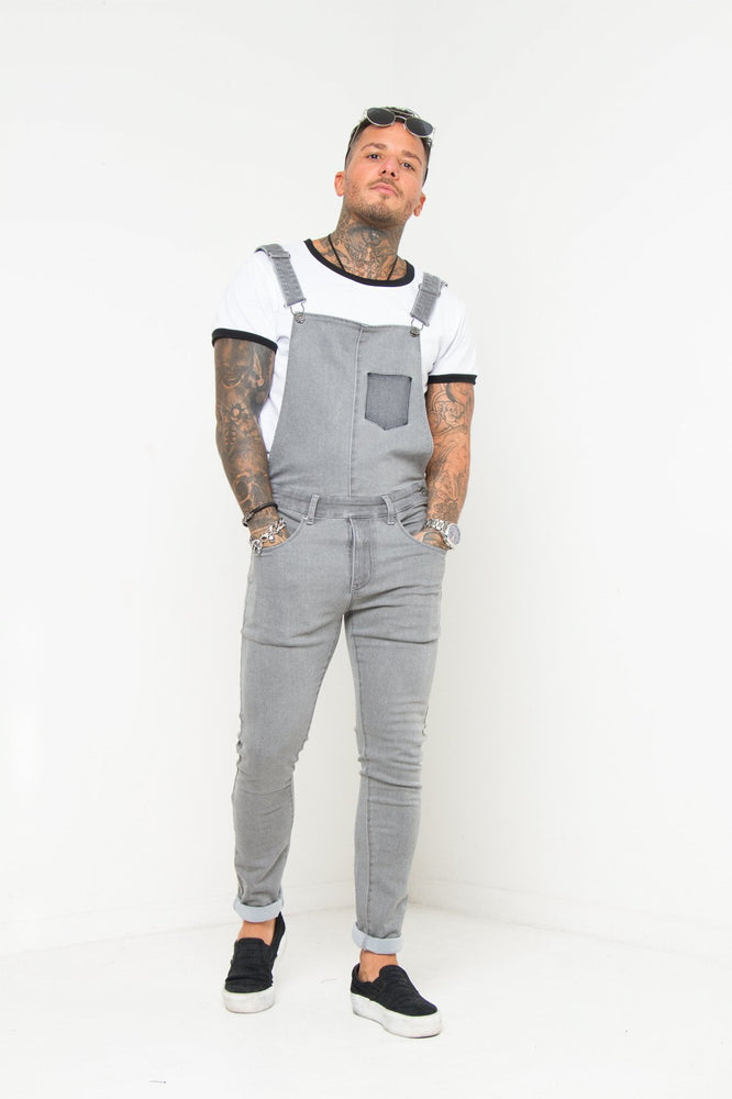 LOUISIANA SKINNY FIT DUNGAREE IN WASHED GREY