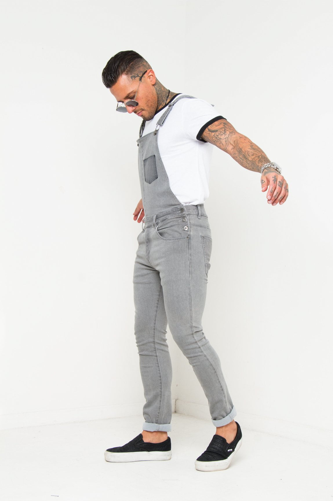 LOUISIANA SKINNY FIT DUNGAREE IN WASHED GREY - Liquor N Poker  Liquor N Poker