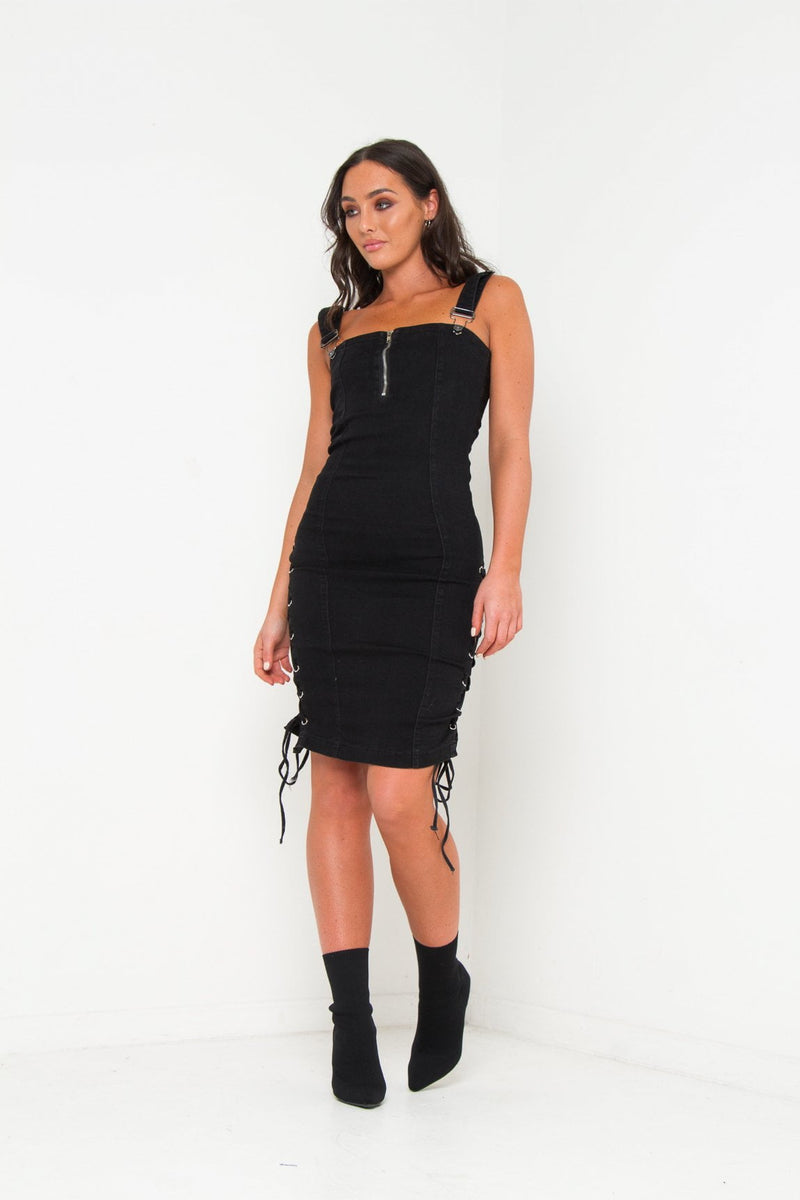 6df7333a567a Albany Denim Midi Dress With Lace Up Detail – LIQUOR N POKER