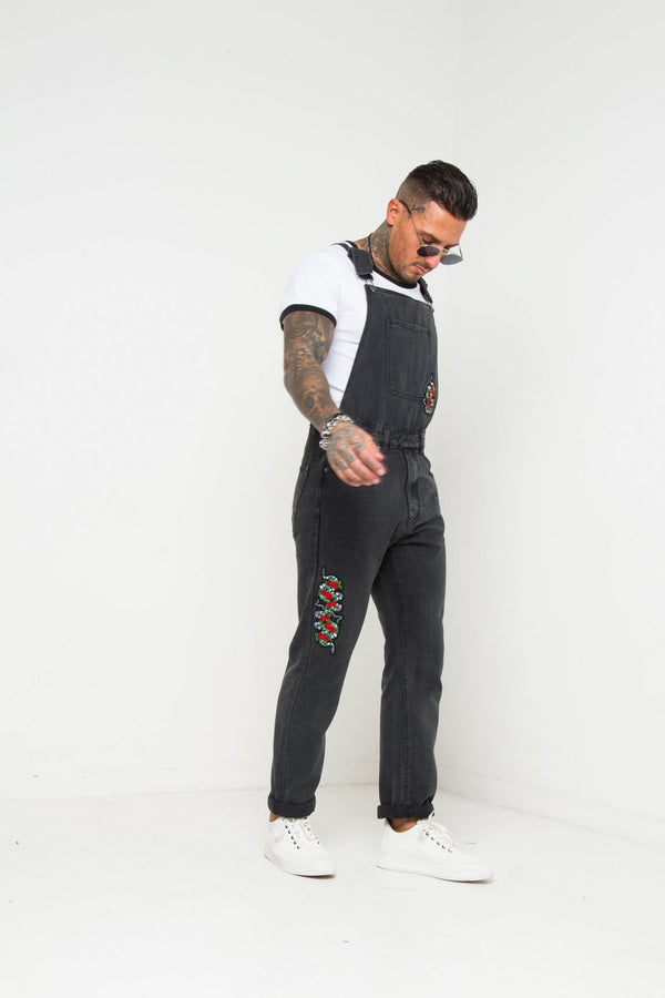 Louisiana Black Dungarees With Embroidery - Liquor N Poker  Liquor N Poker