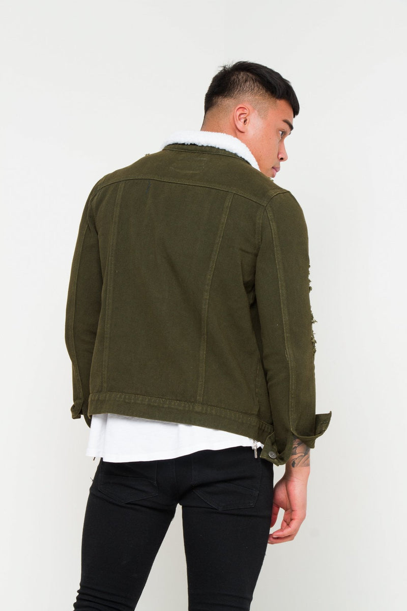 Liquor n Poker - Norton distressed denim jacket in khaki - Liquor N Poker  Liquor N Poker