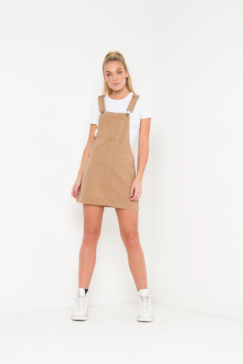 Leawood Tan Pinafore Denim Dress - Liquor N Poker  Liquor N Poker