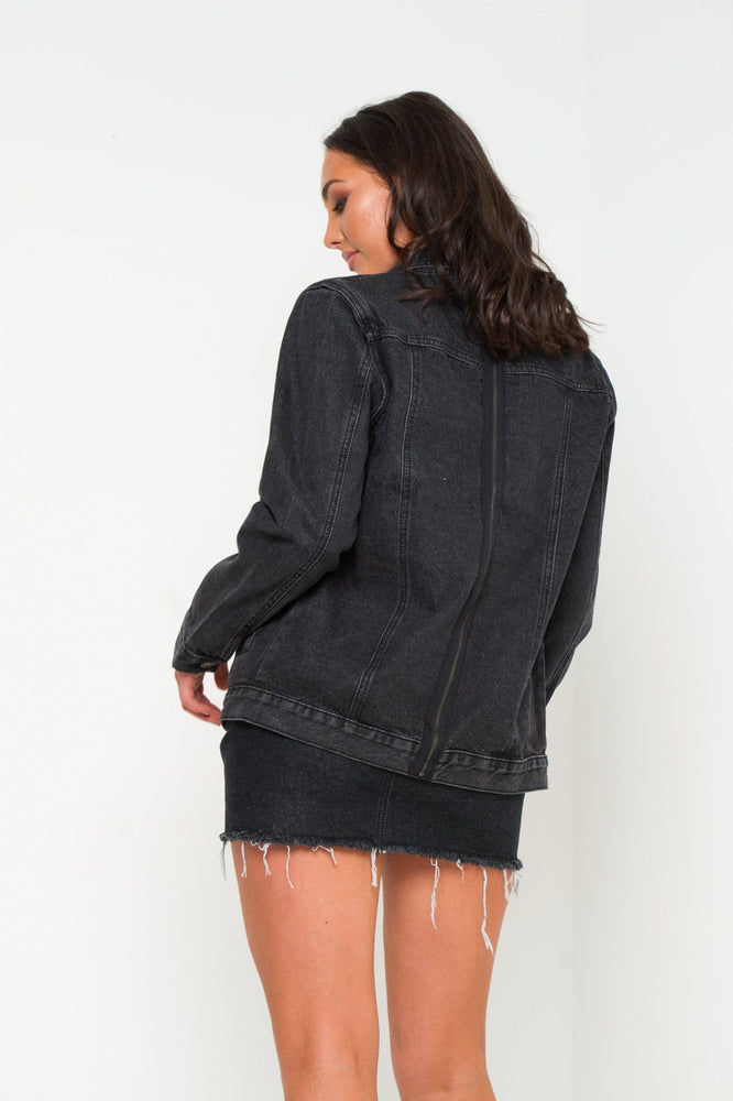 Boyfriend Washed Black Denim Jacket With Zip Detail