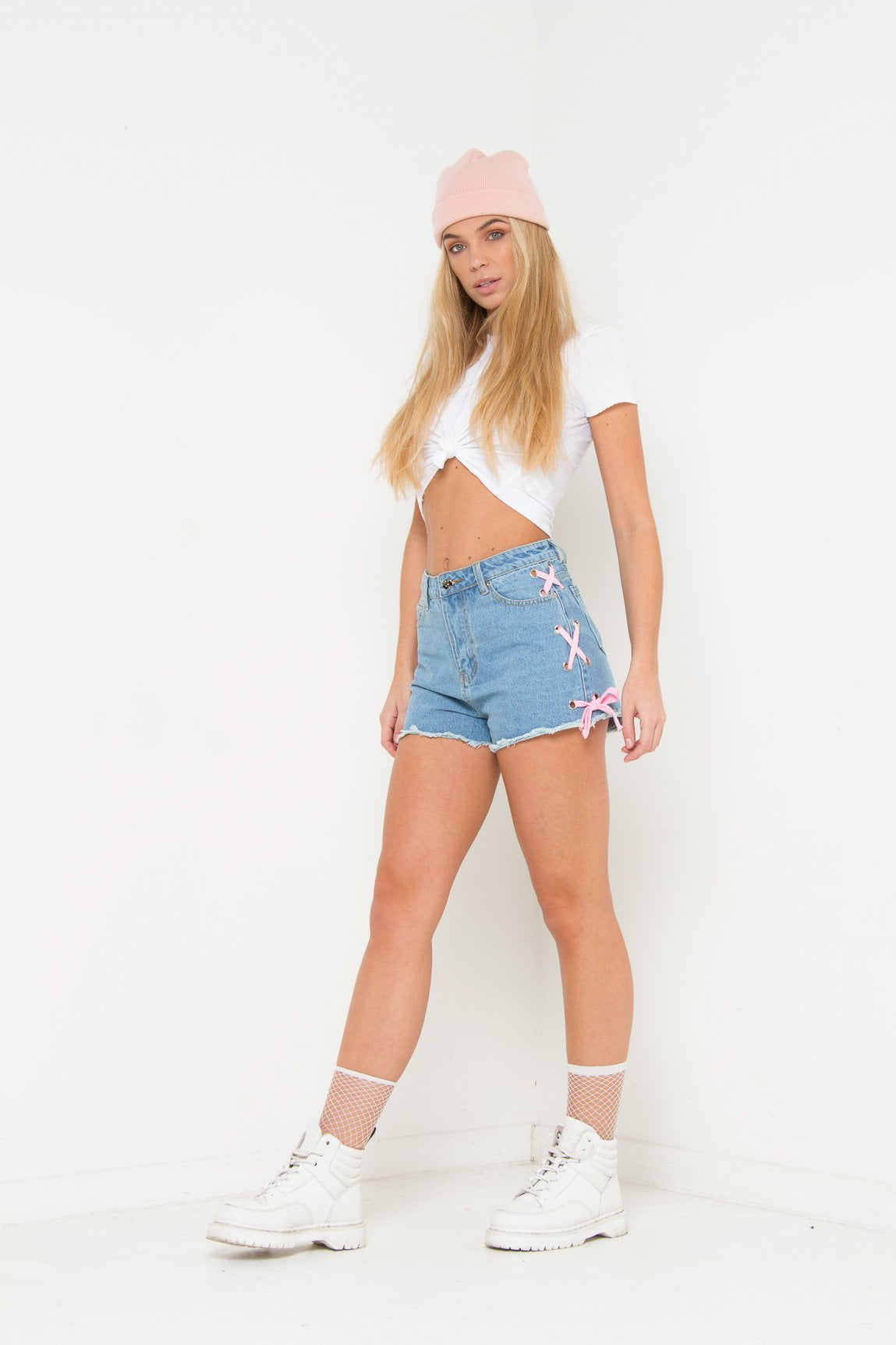 HIGH RISE DENIM SHORTS WITH EYELET& LACE - Liquor N Poker  Liquor N Poker