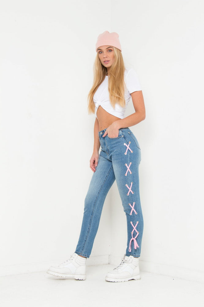 LAX HIGH RISE MOM JEAN WITH EYELET AND LACE DETAIL