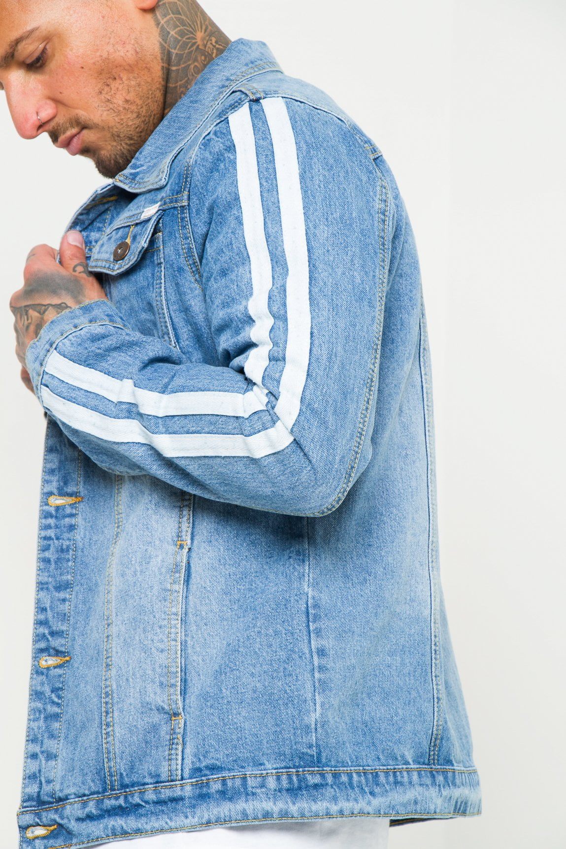 Norton Denim Jacket With Sports Stripe