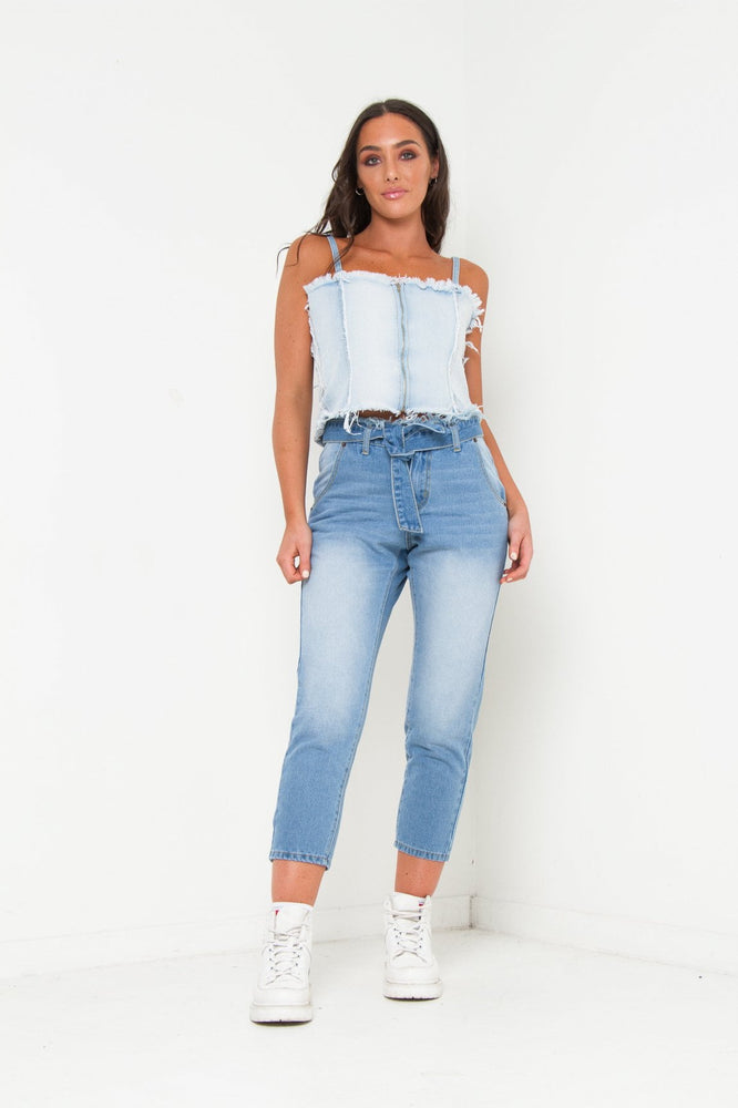 MIA PATCHWORK DENIM BODICE TOP