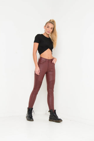 "Detroit High Waisted Ripped Knee Skinnies With Knee Embroidery ""LATER BABY"""