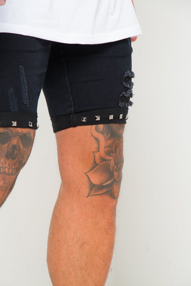 TEXAS SKINNY JEAN SHORTS WITH STUDDED HEM IN BLACK - Liquor N Poker  LIQUOR N POKER