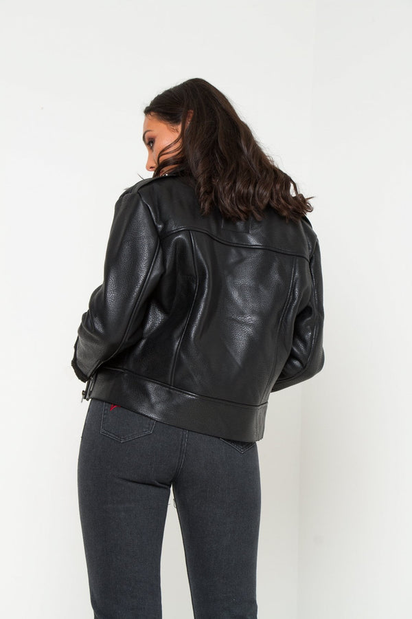 Texas Faux Leather borg lined Jacket