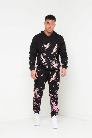 Sakura slim fit jogger with japanese blossom print