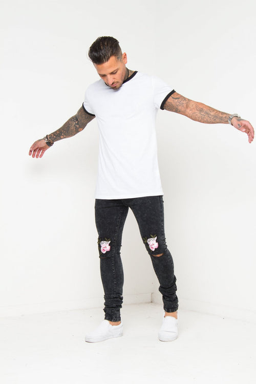 Logan Washed Black Skinny Jeans With Love Rose Embroidered Knee Rips - Liquor N Poker  Liquor N Poker