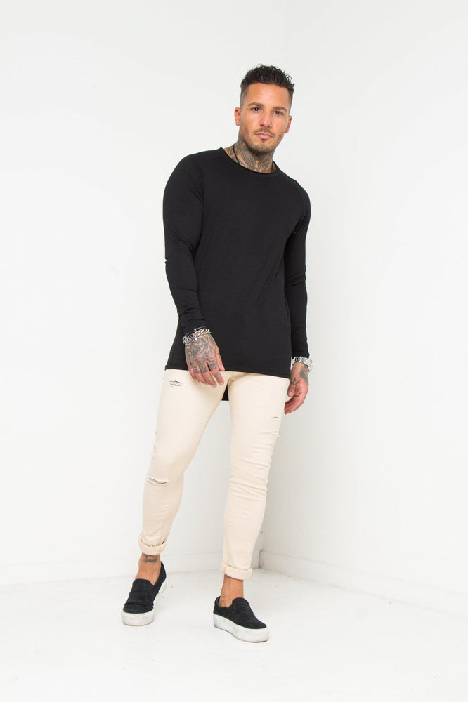 Logan Ecru Super Skinny Jeans With Distressing Detail - Liquor N Poker  LIQUOR N POKER