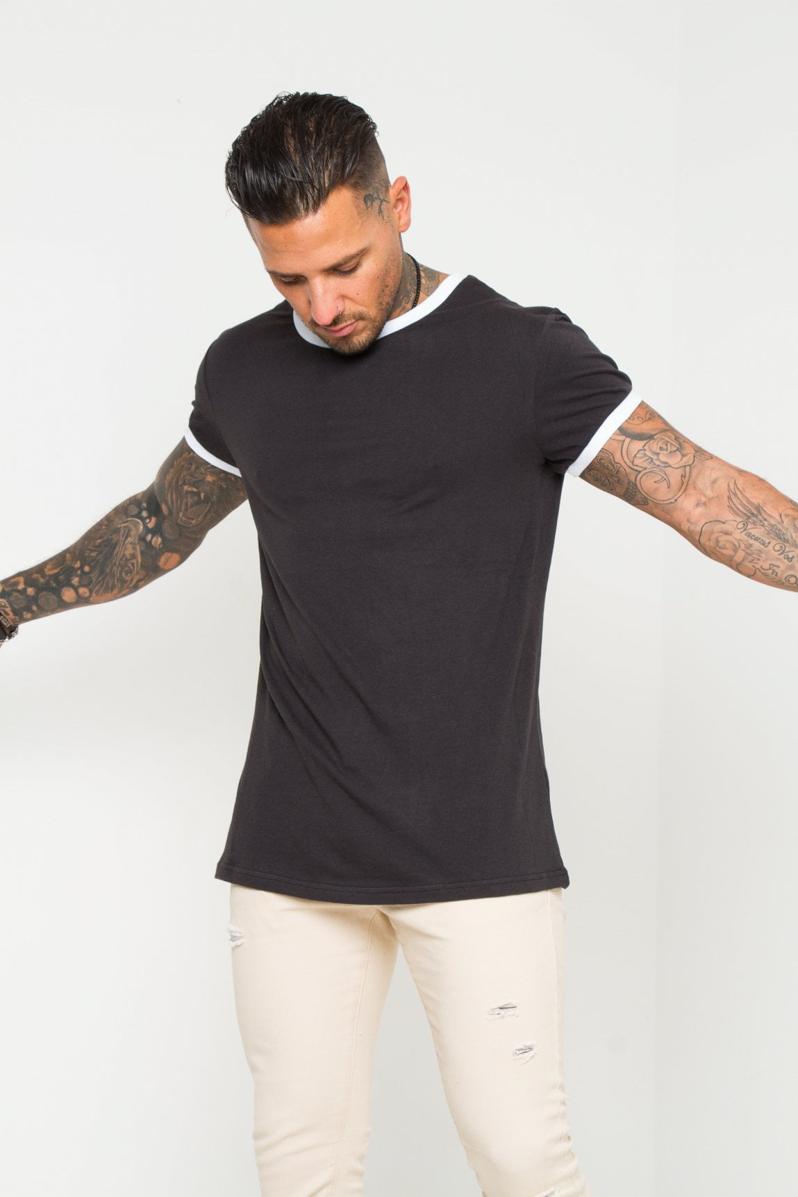 Frisco Ringer Tee- Black with white ribbing