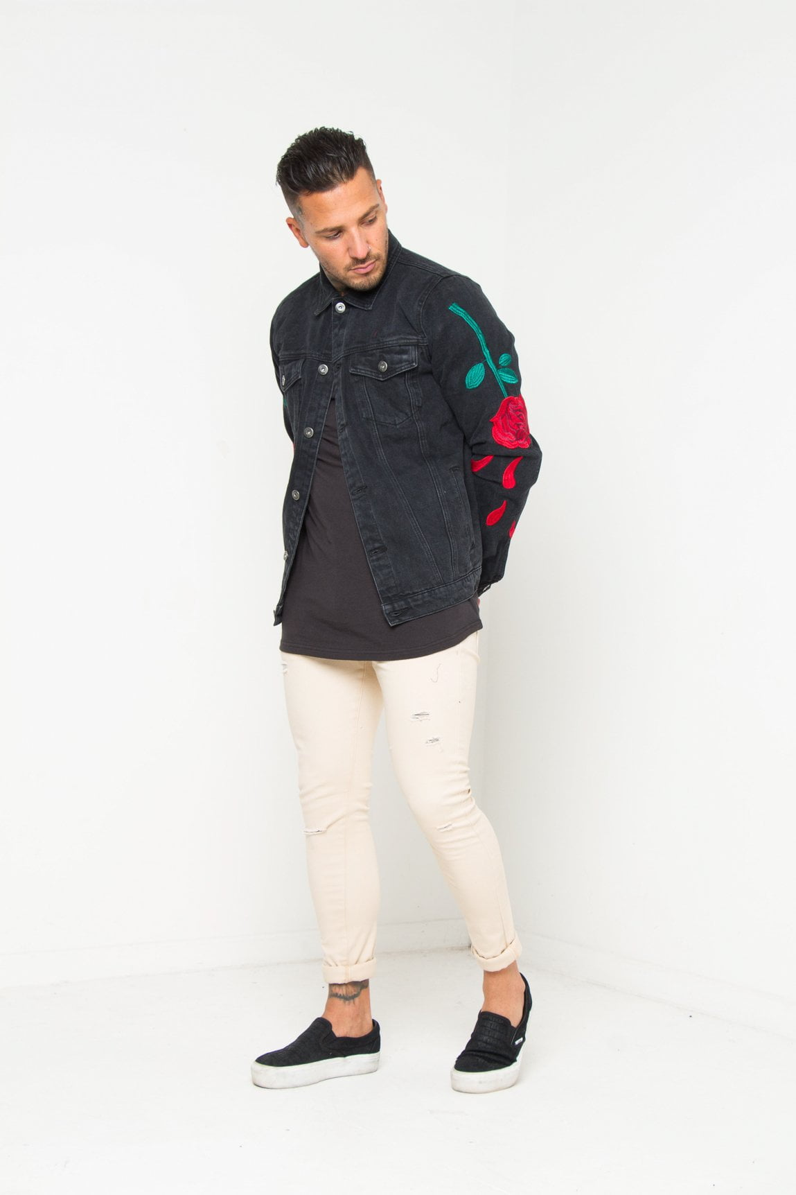 Norton Black Denim Jacket With Rose Embroidery
