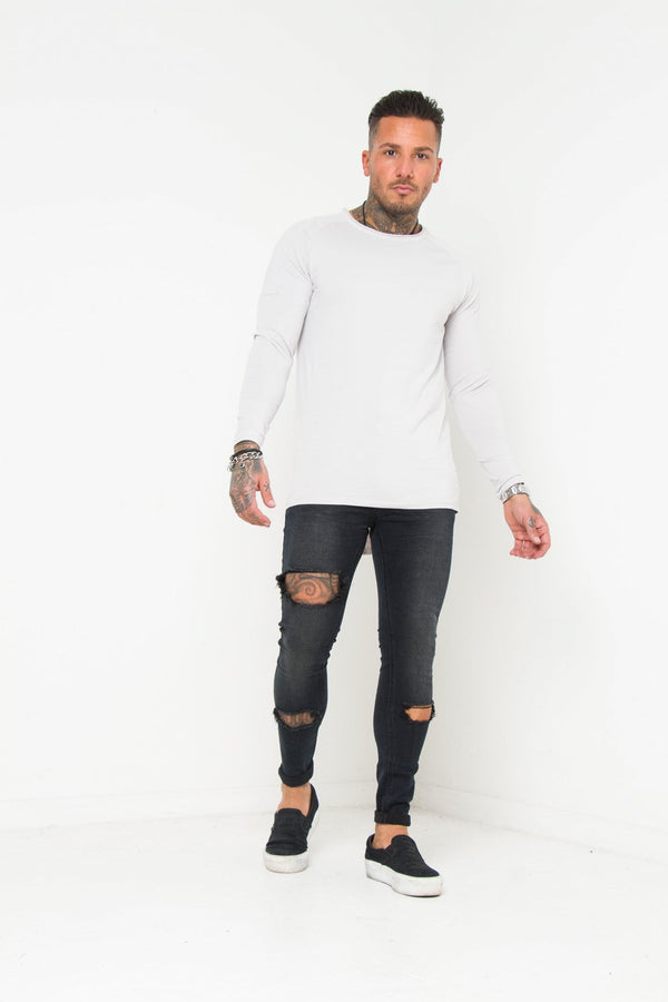 Logan Washed Black Super Skinny Jean With Thigh Rips - Liquor N Poker  Liquor N Poker