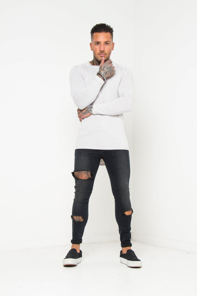 Logan Washed Black Super Skinny Jean With Thigh Rips