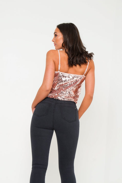 Mildura Rose Gold Sequin Cami Top - Liquor N Poker  Liquor N Poker