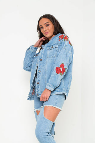 Boyfriend Stonewash Rose Embroidered Denim Jacket