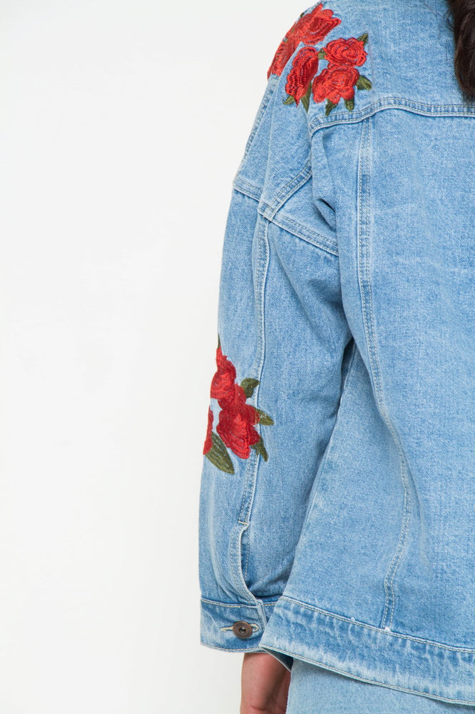 Boyfriend Stonewash Rose Embroidered Denim Jacket - Liquor N Poker  LIQUOR N POKER