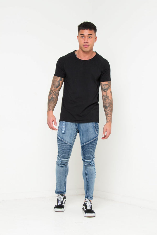 Harley Skinny Distressed And Ripped Biker Jeans In Brushed Indigo - Liquor N Poker  Liquor N Poker