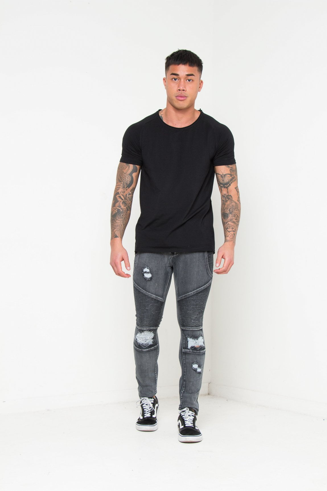 Harley Skinny Biker Jean with Ripped Knee In Acid Wash Black - Liquor N Poker  Liquor N Poker