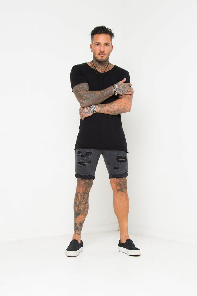 Miami Distressed Black Shorts