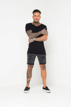 Miami Distressed Black Shorts - Liquor N Poker  Liquor N Poker