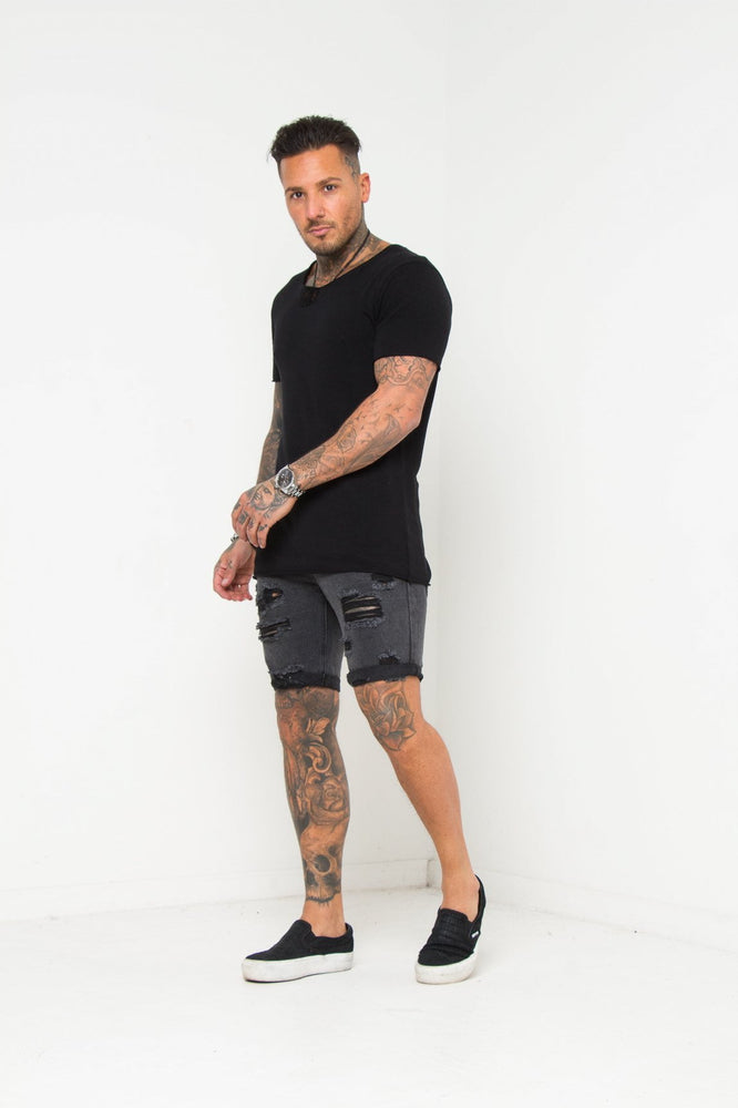 Load image into Gallery viewer, Miami Distressed Black Shorts - Liquor N Poker  LIQUOR N POKER