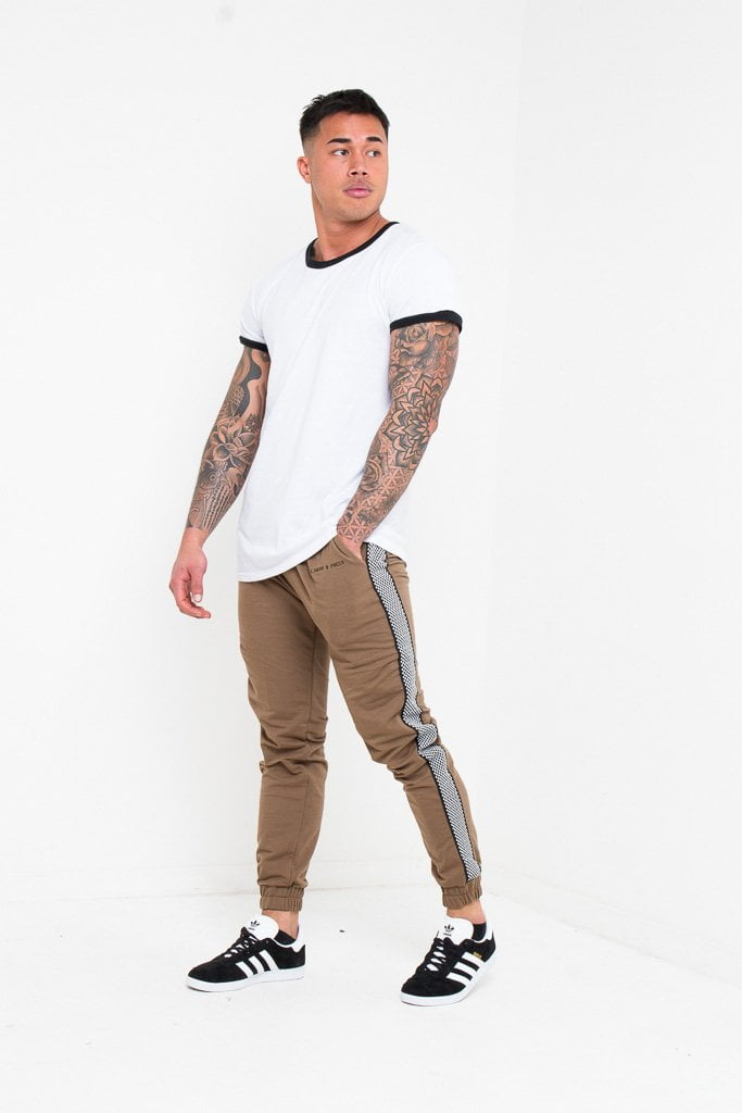 Daytona Slim fit jogger in khaki with checkered sports stripe - Liquor N Poker  Liquor N Poker