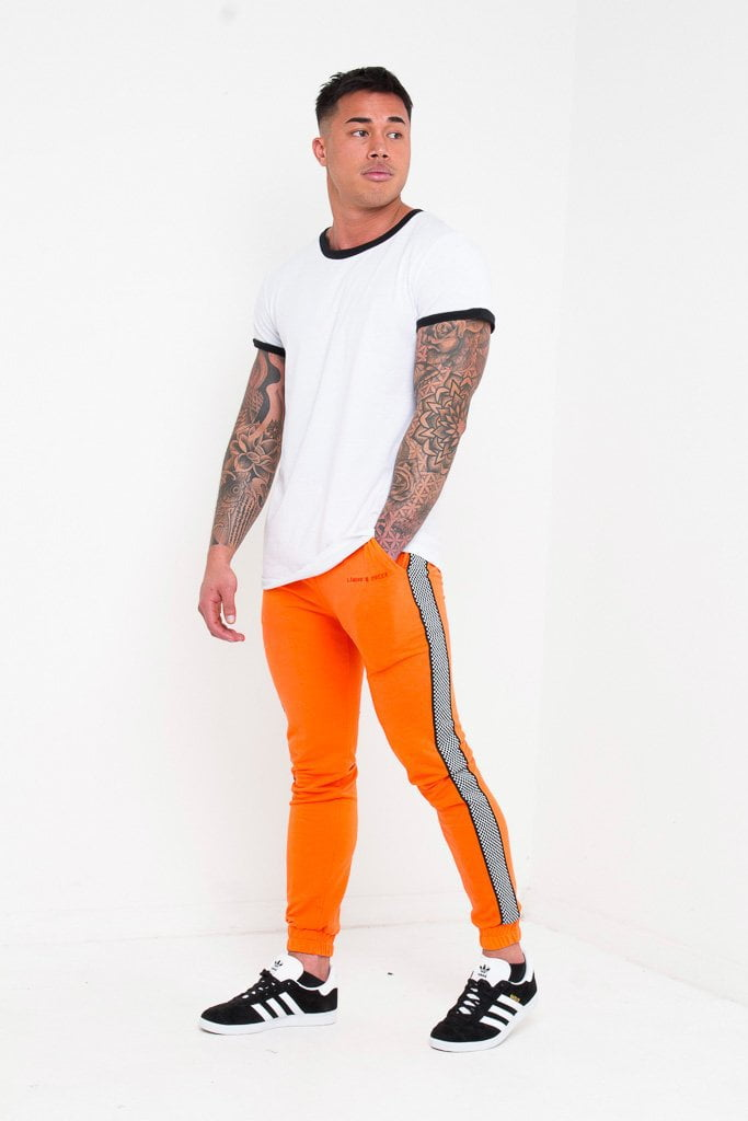 Daytona Slim fit jogger in orange with checkered sports stripe - Liquor N Poker  Liquor N Poker