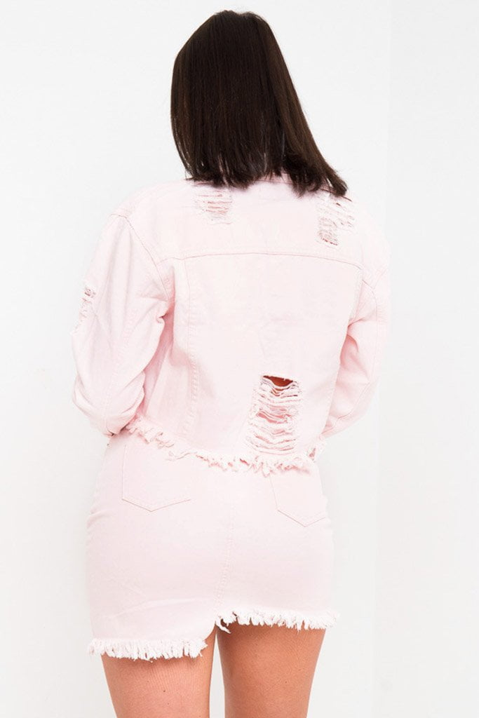 DELAWARE CROPPED DENIM JACKET IN CANDY PINK - Liquor N Poker  Liquor N Poker