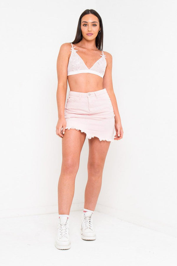 DAKOTA MINI DISTRESSED DENIM SKIRT IN CANDY PINK - Liquor N Poker  Liquor N Poker