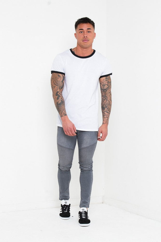 HARLEY SKINNY BIKER JEANS IN WASHED GREY